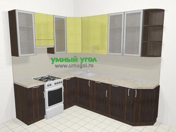 Кухни пластиковые угловые в современном стиле 6,8 м², 190 на 250 см, Желтый Галлион глянец / Дерево Мокка, верхние модули 92 см, посудомоечная машина, отдельно стоящая плита