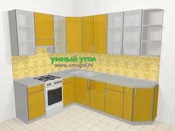 Кухни пластиковые угловые в современном стиле 6,8 м², 190 на 250 см, Желтый глянец, верхние модули 92 см, посудомоечная машина, отдельно стоящая плита