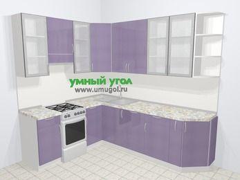 Кухни пластиковые угловые в современном стиле 6,8 м², 190 на 250 см, Сиреневый глянец, верхние модули 92 см, посудомоечная машина, отдельно стоящая плита
