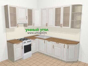 Угловая кухня МДФ патина в классическом стиле 6,8 м², 190 на 250 см, Лиственница белая, верхние модули 92 см, посудомоечная машина, отдельно стоящая плита