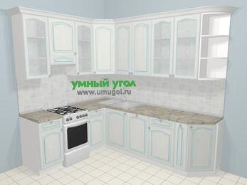 Угловая кухня МДФ патина в стиле прованс 6,8 м², 190 на 250 см, Лиственница белая, верхние модули 92 см, посудомоечная машина, отдельно стоящая плита
