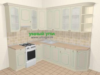 Угловая кухня МДФ патина в стиле прованс 6,8 м², 190 на 250 см, Керамик, верхние модули 92 см, посудомоечная машина, отдельно стоящая плита