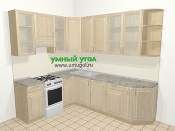 Угловая кухня из массива дерева в классическом стиле 6,8 м², 190 на 250 см, Светло-коричневые оттенки, верхние модули 92 см, посудомоечная машина, отдельно стоящая плита