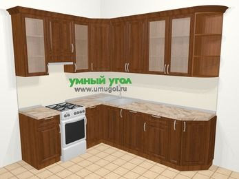 Угловая кухня из массива дерева в классическом стиле 6,8 м², 190 на 250 см, Темно-коричневые оттенки, верхние модули 92 см, посудомоечная машина, отдельно стоящая плита