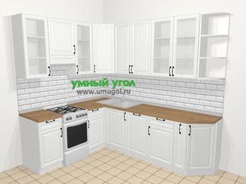 Угловая кухня из массива дерева в скандинавском стиле 6,8 м², 190 на 250 см, Белые оттенки, верхние модули 92 см, посудомоечная машина, отдельно стоящая плита