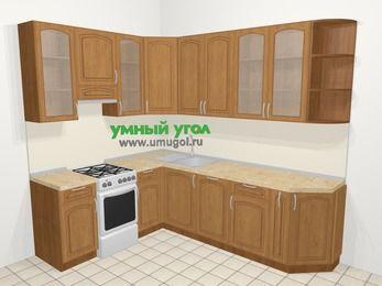 Угловая кухня МДФ патина в классическом стиле 6,8 м², 190 на 250 см, Ольха, верхние модули 92 см, посудомоечная машина, отдельно стоящая плита
