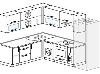 Планировка угловой кухни 7,0 м², 190 на 250 см (зеркальный проект): верхние модули 72 см, посудомоечная машина, встроенный духовой шкаф, корзина-бутылочница, холодильник