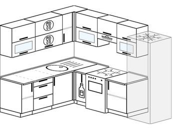 Планировка угловой кухни 7,0 м², 190 на 250 см (зеркальный проект): верхние модули 72 см, корзина-бутылочница, отдельно стоящая плита, холодильник