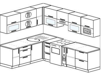 Планировка угловой кухни 7,0 м², 1900 на 2500 мм (зеркальный проект): верхние модули 720 мм, отдельно стоящая плита, корзина-бутылочница, модуль под свч