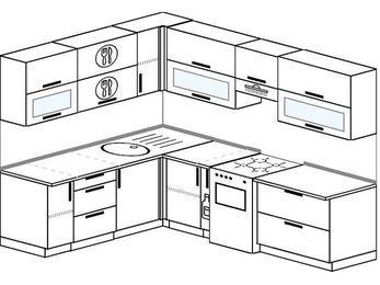 Планировка угловой кухни 7,0 м², 190 на 250 см (зеркальный проект): верхние модули 72 см, корзина-бутылочница, отдельно стоящая плита