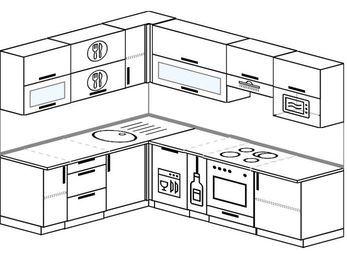 Планировка угловой кухни 7,0 м², 190 на 250 см (зеркальный проект): верхние модули 72 см, посудомоечная машина, корзина-бутылочница, встроенный духовой шкаф, верхний модуль под свч