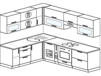 Планировка угловой кухни 7,0 м², 190 на 250 см (зеркальный проект): верхние модули 72 см, посудомоечная машина, корзина-бутылочница, встроенный духовой шкаф