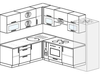 Планировка угловой кухни 7,0 м², 190 на 250 см (зеркальный проект): верхние модули 72 см, корзина-бутылочница, встроенный духовой шкаф, холодильник