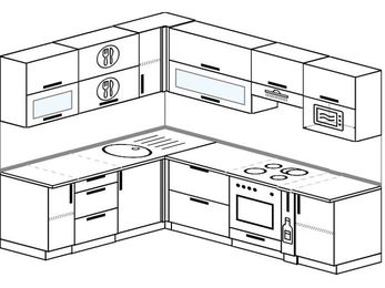Планировка угловой кухни 7,0 м², 1900 на 2500 мм (зеркальный проект): верхние модули 720 мм, встроенный духовой шкаф, корзина-бутылочница, верхний витринный модуль под свч