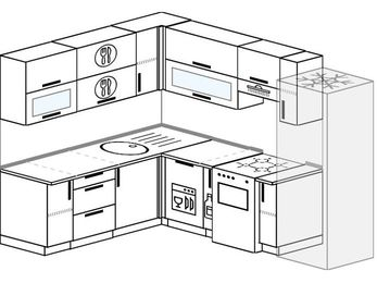 Планировка угловой кухни 7,0 м², 190 на 250 см (зеркальный проект): верхние модули 72 см, посудомоечная машина, корзина-бутылочница, отдельно стоящая плита, холодильник