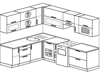 Планировка угловой кухни 7,0 м², 190 на 250 см (зеркальный проект): верхние модули 72 см, посудомоечная машина, корзина-бутылочница, отдельно стоящая плита, верхний модуль под свч