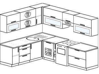 Планировка угловой кухни 7,0 м², 190 на 250 см (зеркальный проект): верхние модули 72 см, посудомоечная машина, корзина-бутылочница, отдельно стоящая плита