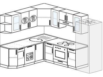 Планировка угловой кухни 7,0 м², 190 на 250 см (зеркальный проект): верхние модули 72 см, посудомоечная машина, встроенный духовой шкаф, холодильник