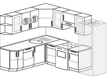 Планировка угловой кухни 7,0 м², 190 на 250 см (зеркальный проект): верхние модули 72 см, отдельно стоящая плита, холодильник