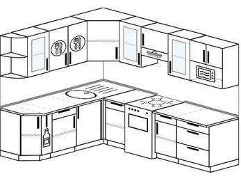 Планировка угловой кухни 7,0 м², 190 на 250 см (зеркальный проект): верхние модули 72 см, корзина-бутылочница, отдельно стоящая плита, модуль под свч