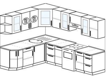 Планировка угловой кухни 7,0 м², 190 на 250 см (зеркальный проект): верхние модули 72 см, отдельно стоящая плита