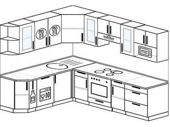 Планировка угловой кухни 7,0 м², 190 на 250 см (зеркальный проект): верхние модули 72 см, корзина-бутылочница, посудомоечная машина, встроенный духовой шкаф, модуль под свч