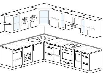 Планировка угловой кухни 7,0 м², 190 на 250 см (зеркальный проект): верхние модули 72 см, посудомоечная машина, встроенный духовой шкаф
