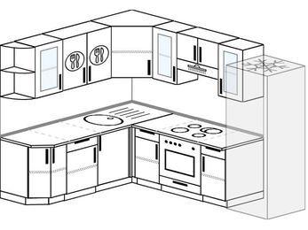 Планировка угловой кухни 7,0 м², 190 на 250 см (зеркальный проект): верхние модули 72 см, встроенный духовой шкаф, холодильник