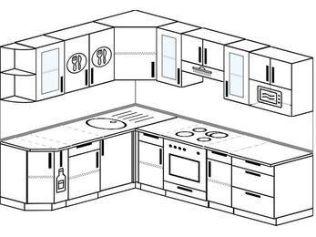Планировка угловой кухни 7,0 м², 190 на 250 см (зеркальный проект): верхние модули 72 см, корзина-бутылочница, встроенный духовой шкаф, модуль под свч