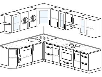 Планировка угловой кухни 7,0 м², 190 на 250 см (зеркальный проект): верхние модули 72 см, корзина-бутылочница, встроенный духовой шкаф