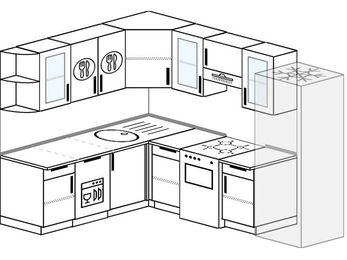 Планировка угловой кухни 7,0 м², 190 на 250 см (зеркальный проект): верхние модули 72 см, посудомоечная машина, отдельно стоящая плита, холодильник