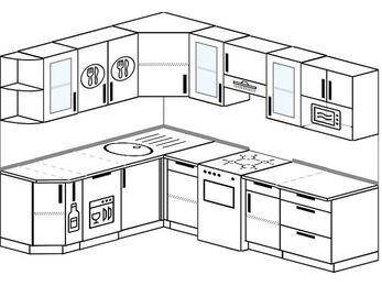 Планировка угловой кухни 7,0 м², 190 на 250 см (зеркальный проект): верхние модули 72 см, корзина-бутылочница, посудомоечная машина, отдельно стоящая плита, модуль под свч