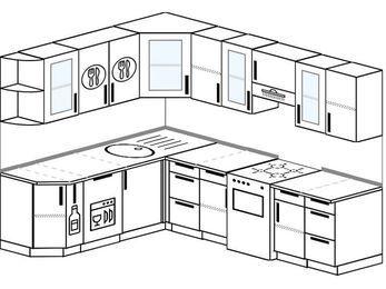 Планировка угловой кухни 7,0 м², 190 на 250 см (зеркальный проект): верхние модули 72 см, корзина-бутылочница, посудомоечная машина, отдельно стоящая плита