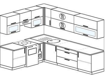 Планировка угловой кухни 7,0 м², 1900 на 2600 мм: верхние модули 720 мм, отдельно стоящая плита, корзина-бутылочница