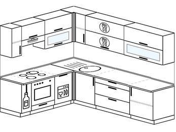 Планировка угловой кухни 7,0 м², 1900 на 2600 мм: верхние модули 720 мм, корзина-бутылочница, встроенный духовой шкаф, посудомоечная машина