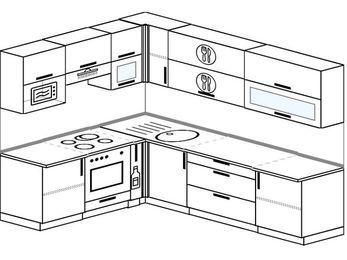 Планировка угловой кухни 7,0 м², 1900 на 2600 мм: верхние модули 720 мм, встроенный духовой шкаф, корзина-бутылочница, верхний витринный модуль под свч