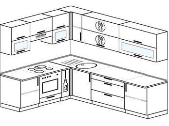 Планировка угловой кухни 7,0 м², 1900 на 2600 мм: верхние модули 720 мм, встроенный духовой шкаф, корзина-бутылочница