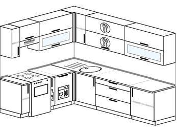 Планировка угловой кухни 7,0 м², 1900 на 2600 мм: верхние модули 720 мм, отдельно стоящая плита, корзина-бутылочница, посудомоечная машина