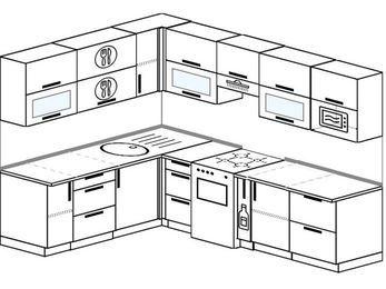 Планировка угловой кухни 7,2 м², 1900 на 2600 мм (зеркальный проект): верхние модули 720 мм, отдельно стоящая плита, корзина-бутылочница, модуль под свч