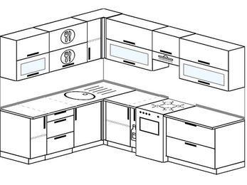 Планировка угловой кухни 7,2 м², 1900 на 2600 мм (зеркальный проект): верхние модули 720 мм, корзина-бутылочница, отдельно стоящая плита