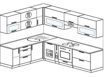 Планировка угловой кухни 7,2 м², 1900 на 2600 мм (зеркальный проект): верхние модули 720 мм, посудомоечная машина, корзина-бутылочница, встроенный духовой шкаф