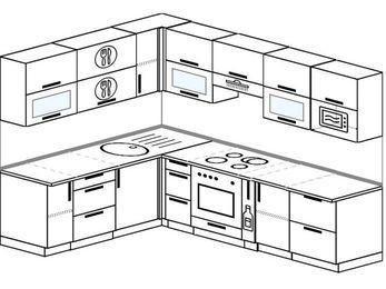 Планировка угловой кухни 7,2 м², 1900 на 2600 мм (зеркальный проект): верхние модули 720 мм, встроенный духовой шкаф, корзина-бутылочница, модуль под свч