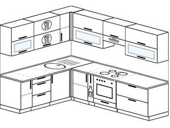 Планировка угловой кухни 7,2 м², 1900 на 2600 мм (зеркальный проект): верхние модули 720 мм, корзина-бутылочница, встроенный духовой шкаф