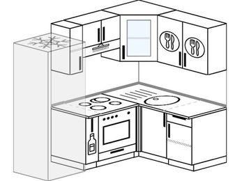 Угловая кухня 5,0 м² (2,0✕1,4 м), верхние модули 720 мм, встроенный духовой шкаф, холодильник
