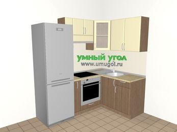 Угловая кухня МДФ матовый 5,0 м², 2000 на 1400 мм, Ваниль / Лиственница бронзовая, верхние модули 720 мм, встроенный духовой шкаф, холодильник