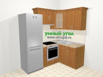 Угловая кухня МДФ матовый в классическом стиле 5,0 м², 200 на 140 см, Вишня, верхние модули 72 см, встроенный духовой шкаф, холодильник