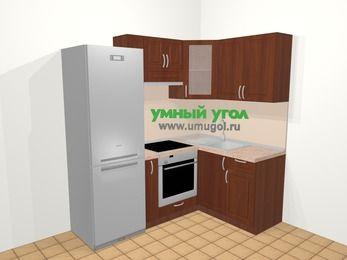 Угловая кухня МДФ матовый в классическом стиле 5,0 м², 200 на 140 см, Вишня темная, верхние модули 72 см, встроенный духовой шкаф, холодильник