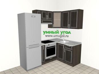 Угловая кухня МДФ патина 5,0 м², 2000 на 1400 мм, Венге, верхние модули 720 мм, встроенный духовой шкаф, холодильник