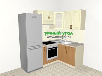 Угловая кухня из МДФ + ЛДСП 5,0 м², 2000 на 1400 мм, Ваниль / Ольха, верхние модули 720 мм, встроенный духовой шкаф, холодильник