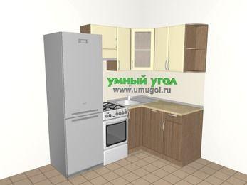 Угловая кухня МДФ матовый 5,0 м², 2000 на 1400 мм, Ваниль / Лиственница бронзовая, верхние модули 720 мм, посудомоечная машина, холодильник, отдельно стоящая плита